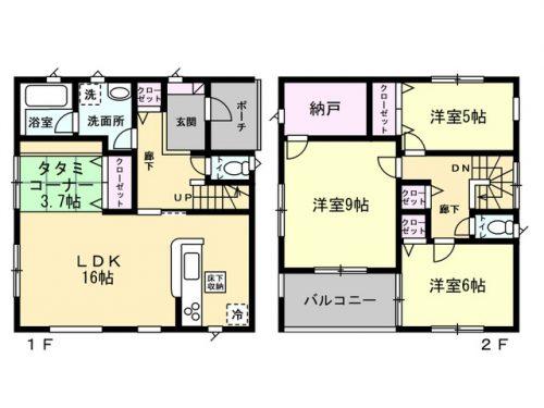 2号棟間取り図 3SLDK+たたみコーナー(間取)