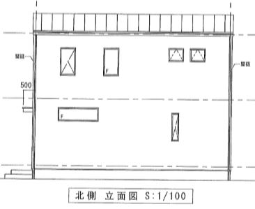 北立面図(外観)